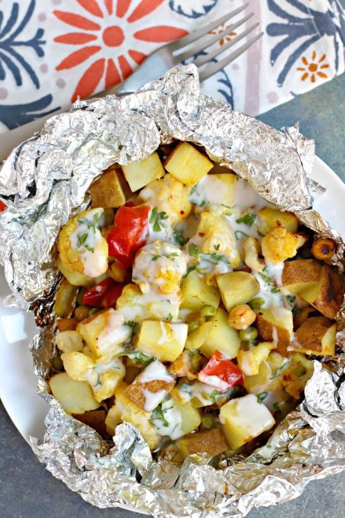 Cauliflower Curry Grill Packets with Yogurt Sauce
