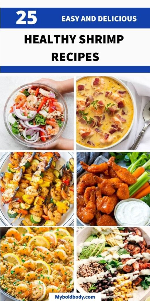 25 super easy, delicious and healthy shrimp recipes that'll satisfy your cravings without guilt. From your favorite shrimp tacos, to shrimp pasta, shrimp salad and much more. These healthy shrimp recipes make the perfect weeknight dinner, or lunch or even a tasty appetizer to enjoy. #shrimp #shrimprecipes #healthyshrimp #dinner #healthydinner #healthyrecipes